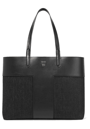 TOM FORD - T Leather And Denim Tote - Black
