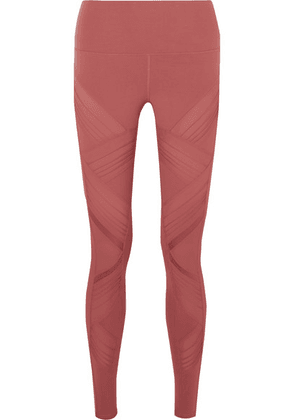 Alo Yoga - Moto Mesh-paneled Stretch Leggings - Baby pink