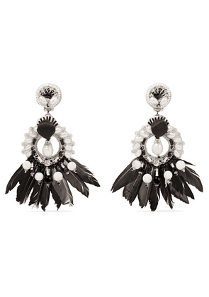 Ranjana Khan - Leather, Silver-tone And Feather Multi-stone Clip Earrings - Black