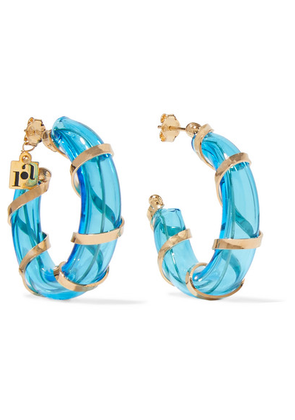 Rosantica - Bolle Glass And Gold-tone Hoop Earrings - one size