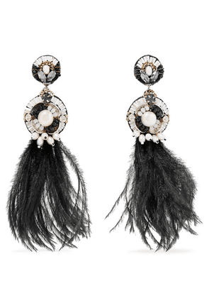 Ranjana Khan - Gold-tone, Leather, Feather, Mother-of-pearl And Crystal Clip Earrings - Black