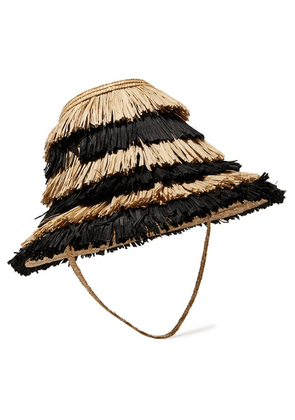Cult Gaia - Mia Striped Fringed Straw Hat - Black