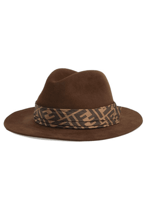 Fendi - Printed Silk Twill-trimmed Rabbit-felt Fedora - Dark brown