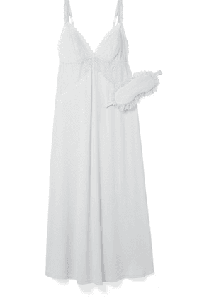 Eberjey - Phoebe Lace-trimmed Stretch-modal Jersey Nightdress With Eye Mask - Light blue