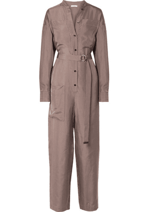 Tibi - Walden Belted Checked Cupro Jumpsuit - Brown