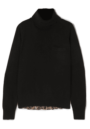 Sacai - Wool And Leopard-print Chiffon Sweater - Black