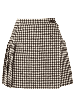Vivienne Westwood - Frayed Pleated Gingham Wool Wrap Mini Skirt - Black