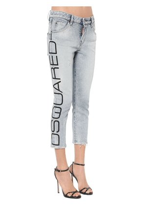 Cropped Blue Acid Wash Cool Girl Jeans
