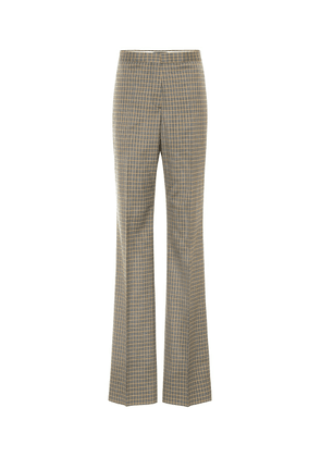 Checked high-rise stretch-wool pants