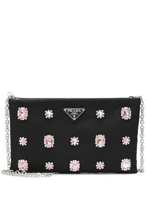 Embellished nylon shoulder bag