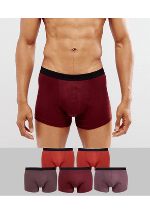 ASOS Trunks In Red And Brown 5 Pack SAVE