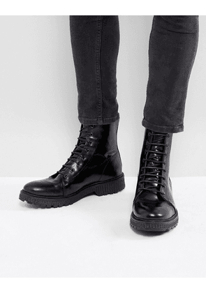 ASOS Lace Up High Boots In Black Leather With Heavy Gum Sole