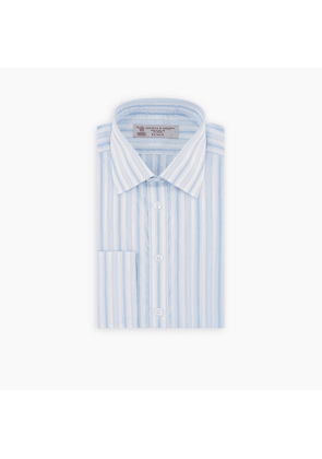 Exclusive Tonal Blue Multi Stripe Cotton Shirt with Classic T & A Collar