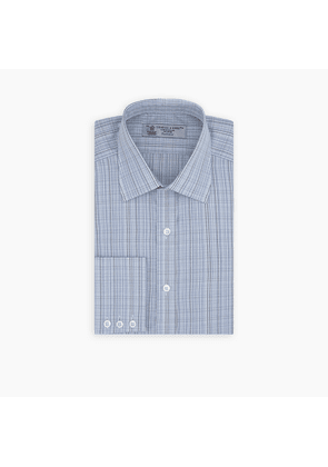 Blue and Navy Fine Check Cotton Shirt with Classic T & A Collar and.
