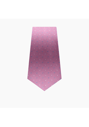 Slim Pink Silk Tie with Blue and White Spot