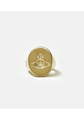 Sterling Silver Seal Ring Gold Tone