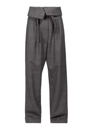 Loewe - Folded Waist Twill Straight Leg Trousers - Womens - Grey Multi