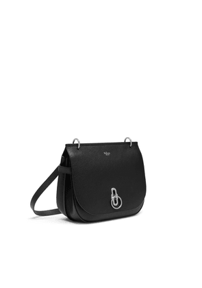Mulberry Amberley Satchel in Black - Silver Toned Small Classic Grain