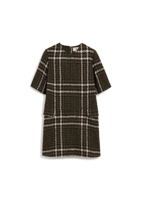 Mulberry Jeanna Dress in Deep Olive Large Tri-Colour Check Boucle
