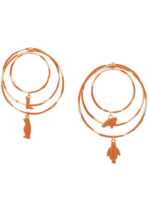 Marni toy charm hoop earrings - Orange