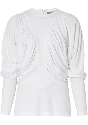 Burberry Long-sleeve Ruched Panel Jersey Top - White