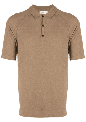 Closed knitted polo shirt - Brown