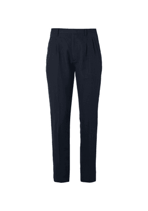 Zanella - Navy Newton Slim-fit Pleated Herringbone Cotton And Linen-blend Trousers - Navy