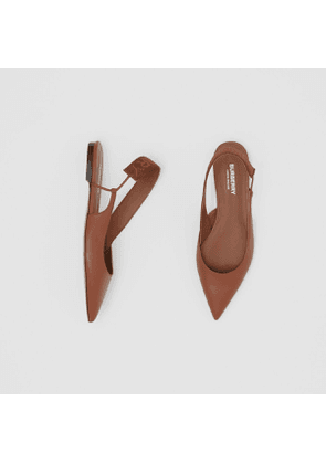 Burberry Logo Detail Leather Slingback Flats, Size: 37, Brown