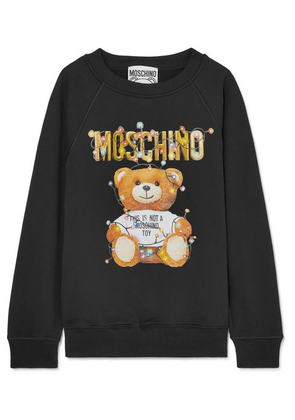 Moschino - Printed Stretch-cotton Jersey Sweater - Black