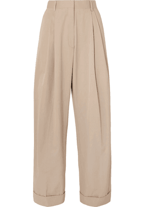 Dries Van Noten - Pleated Cotton-poplin Wide-leg Pants - Beige