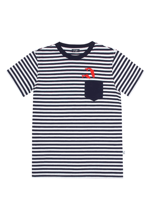 Embroidered striped cotton T-shirt