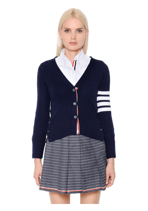 Intarsia Stripes Cashmere Knit Cardigan