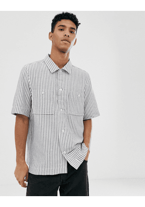 Weekday Kim short sleeved striped shirt in blue and cream