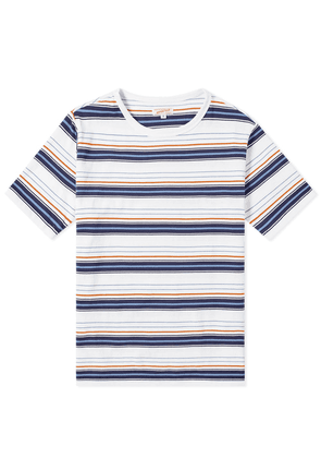 Arpenteur Match Stripe Tee White, Navy, Orange & Blue