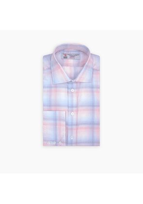 Blue, Pink and Purple Blurred Check Shirt with Regent Collar and.