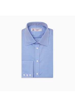 Mid Blue Oxford Cotton Shirt with T & A Collar and Button Cuffs
