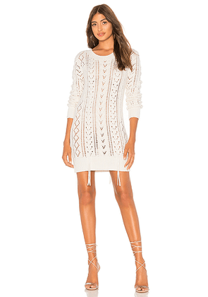 Lovers + Friends Lace Up Sweater Dress in Ivory. Size S.