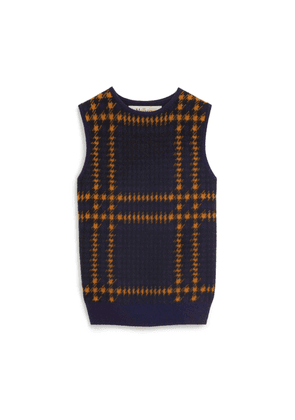 Mulberry Callie Tank Top in Dark Navy Tri Colour Check Cashmere Blend