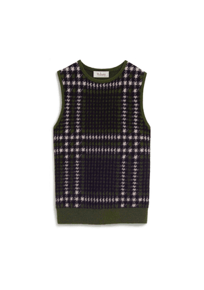 Mulberry Callie Tank Top in Deep Olive Tri Colour Check Cashmere Blend