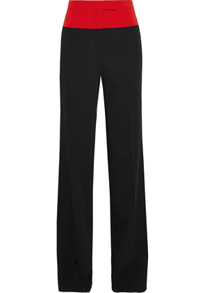 Bottega Veneta Two-tone Wool-twill Straight-leg Pants Woman Black Size 38