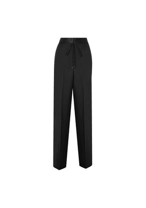 Bottega Veneta Satin-trimmed Wool And Mohair-blend Straight-leg Pants Woman Black Size 42