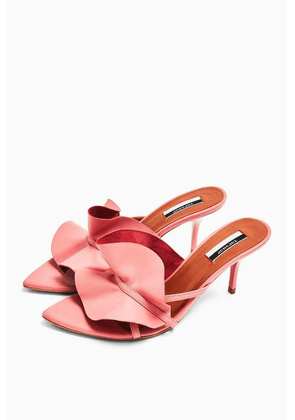 Womens Ruffle Pink V Point Mules - Pink, Pink