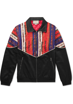Gucci - Printed Silk-twill And Tech-jersey Bomber Jacket - Black