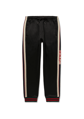Gucci - Tapered Webbing-trimmed Tech-jersey Track Pants - Black