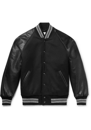 Golden Bear - The Ralston Wool-blend And Leather Bomber Jacket - Black