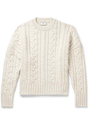 AMI - Oversized Cable-knit Wool Sweater - Off-white