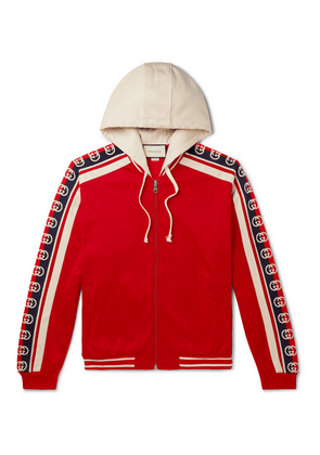 Gucci - Webbing-trimmed Tech-jersey Zip-up Hoodie - Red