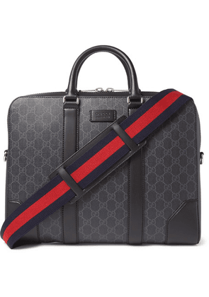 Gucci - Leather-trimmed Monogrammed Coated-canvas Briefcase - Black