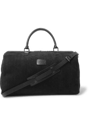 Anderson's - Boston Leather-trimmed Suede Holdall - Black