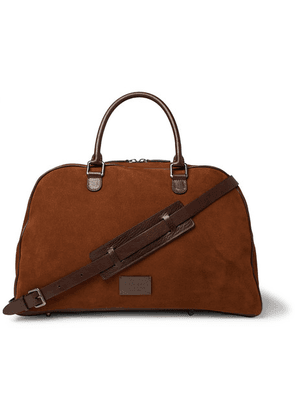 Anderson's - Leather-trimmed Suede Duffle Bag - Brown
